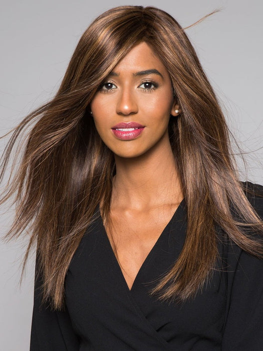 ANGIE by Jon Renau in FS6/30/27 TOFFEE TRUFFLE | Brown, Medium Red-Gold, Medium Red-Gold Blonde Blend with Medium Gold Blonde Bold Highlights (This piece has been styled)
