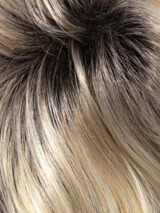 22-1001-R8 | Rooted Chestnut Brown with Ash Blonde base blended with Platinum Blonde highlights