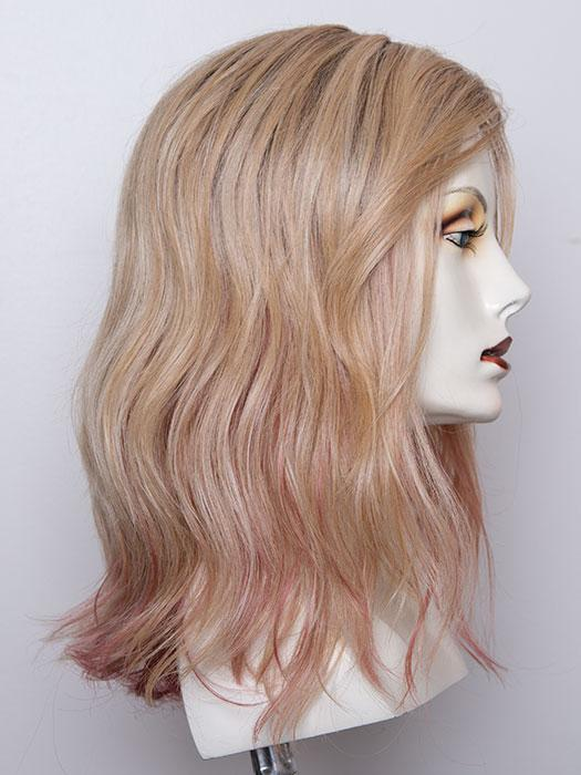ROSE BLONDE | Medium Dark Brown Roots that melt into a Pale Golden Blonde with a Mixture of Pink Tones Underneath