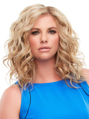 This mid-length Remy human hair topper is worn over the entire crown, providing the most coverage of any clip in topper