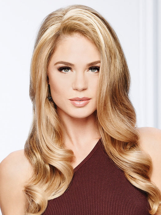 Top Choice is a long layered top of head piece designed with soft waves