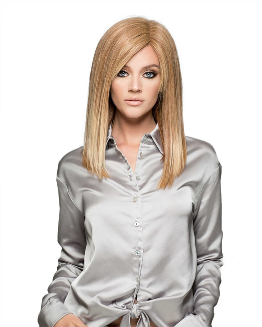 Adelle Special Lining by Wig Pro has long soft face framing style with parting or playful bangs for a versatile and modern look and is silky smooth