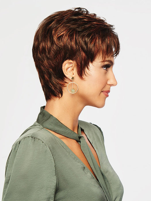 WINNER PETITE by RAQUEL WELCH | 20th Anniversary | R6/28H COPPERY MINK | Dark Medium Brown Evenly Blended with Vibrant Red Highlights