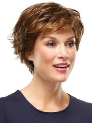 Soft, rounded bang is flattering | Color: 6F27