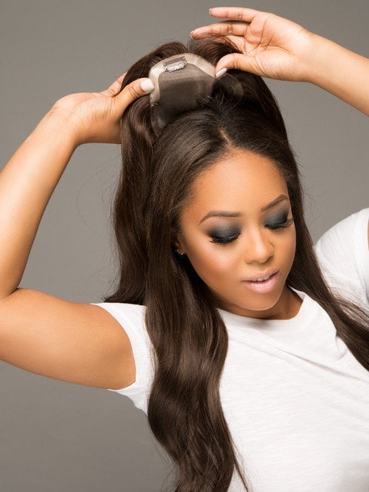 "EASIPART HUMAN HAIR XL 18"" by easihair in adds seamless volume and coverage on the top of the head and along the part."