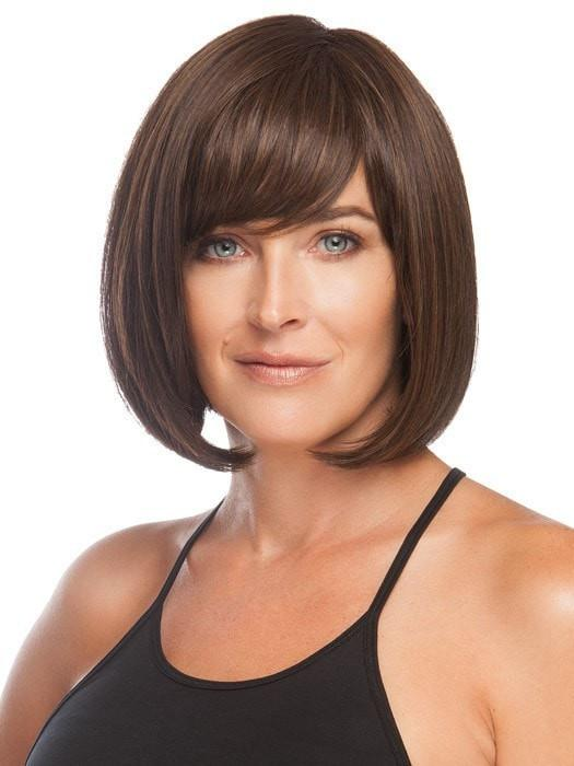 Wear the bang off to the side or have your stylist customize it for you | Color: Medium Brown