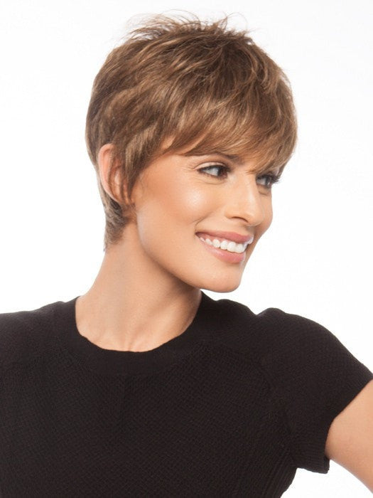 Longer fringe gives coverage and frames the face for a flattering look | Color: GL10-12