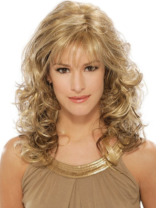 Estetica Felicity : Back View | Color R12/26CH (Light Brown with Golden Blonde Chunky Highlights)n Blonde Chunky Highlights)