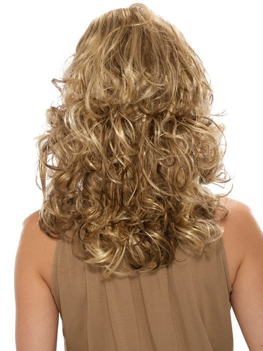 Estetica Felicity : Back View | Color R12/26CH (Light Brown with Golden Blonde Chunky Highlights)