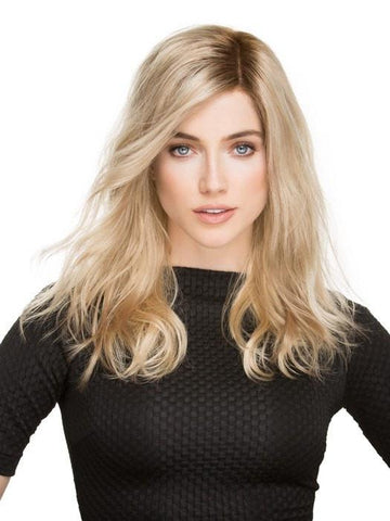 ARROW by Ellen Wille in CHAMPAGNE ROOTED	| Light Beige Blonde, Medium Honey Blonde, and Platinum Blonde Blend with Dark Roots