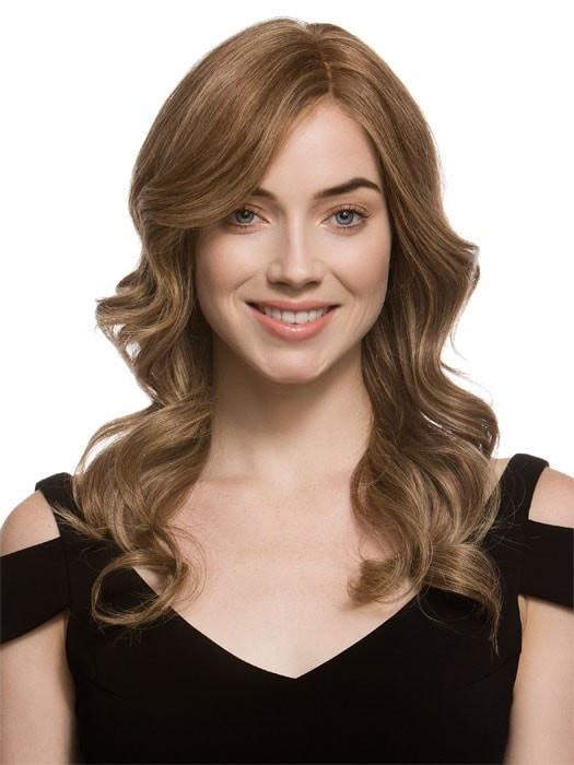 CASCADE by Ellen Wille in BERNSTEIN MIX | Light Brown Base with Subtle Light Honey Blonde and Light Butterscotch Blonde Highlights  (This piece has been styled and curled)