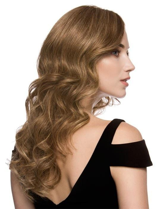 Enjoy all the styling flexibility of human hair! Shown here curled with a 1 inch barrel curling iron