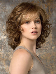 CAT by Ellen Wille in TOBACCO ROOTED | Medium Brown Base with Light Golden Blonde Highlights and Light Auburn Lowlights and Dark Roots