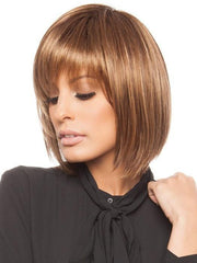 A short, trendy, and softly angled cut wig