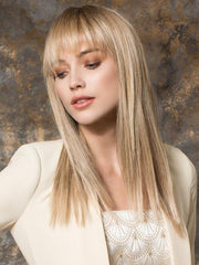 Bang was trimmed slightly for model | SANDY BLONDE ROOTED Medium Honey Blonde, Light Ash Blonde, and Lightest Reddish Brown Blend with Dark Roots
