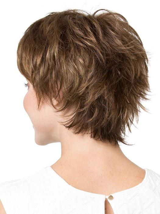 Tapered neckline layers blend with the choppy crown length