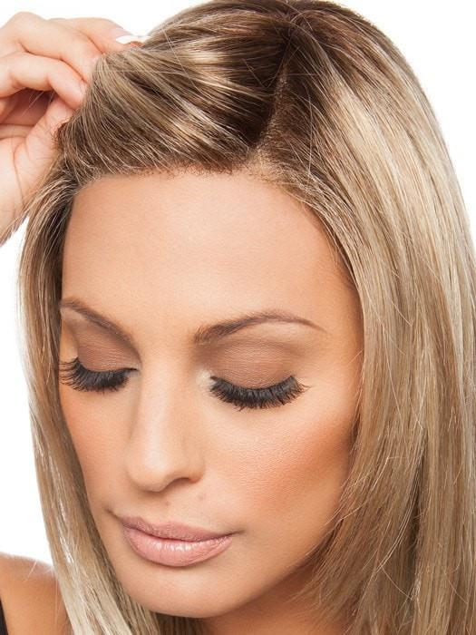 Hand-tied lace front and monofilament part give a scalp-like appearance
