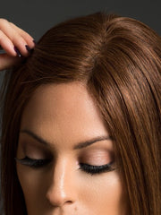 The lace front extends temple to temple and allows you to style the front layers and away from the face