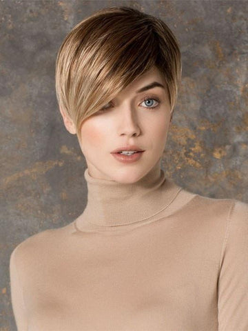 DISC by Ellen Wille in DARK-SAND-ROOTED | Light Brown Base with  Lightest Ash Brown and Medium Honey Blonde Blend and Dark Roots