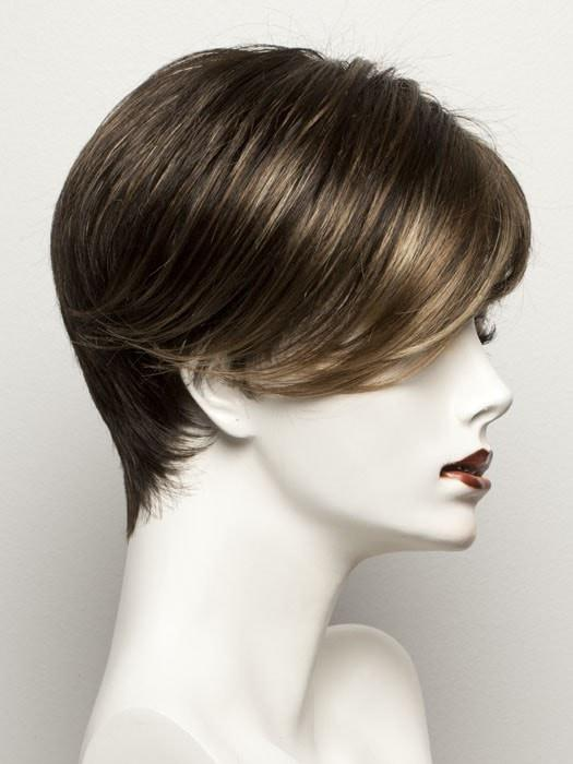 COFFEE LIGHTED | Medium to Dark Brown base with Honey Blonde highlights on the top only, darker nape