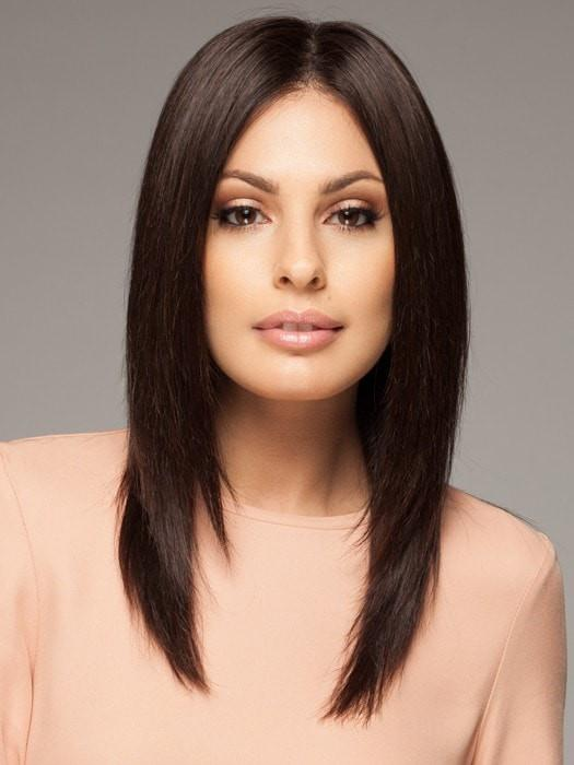 This 100% Remy human hair wig is the finest quality human hair (Style has been straightened for this look)