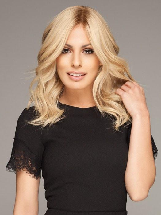 EMOTION WIG by Ellen Wille in SANDY BLONDE ROOTED | Medium Honey Blonde, Light Ash Blonde, and Lightest Reddish Brown Blend with Dark Roots (Style has been curled for this look)