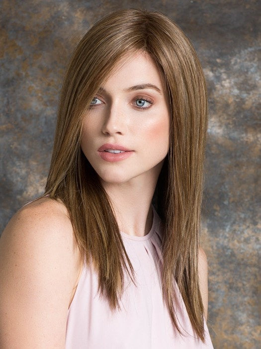 ILLUSION by Ellen Wille in BERNSTEINE ROOTED | Light Brown Base with Subtle Light Honey Blonde and Light Butterscotch Blonde Highlights and Dark Roots