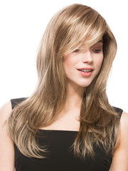Layered side bang is flattering and girly | Bang has been layered and styled for the photo | Color: Dark Sand Rooted