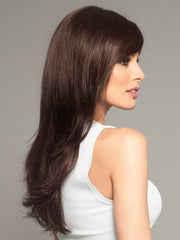 Shorter layers gradually get longer toward the back | Bang has been layered and styled for the photo | Color: Dark Chocolate Mix