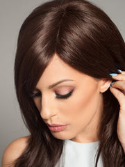 Natural Monofilament Part gives the look of your own hair growth | Color: Dark Chocolate Mix
