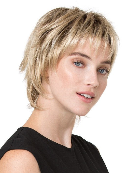 PLAY by Ellen Wille in CHAMPAGNE ROOTED | Light Beige Blonde,  Medium Honey Blonde, and Platinum Blonde Blend with Dark Roots