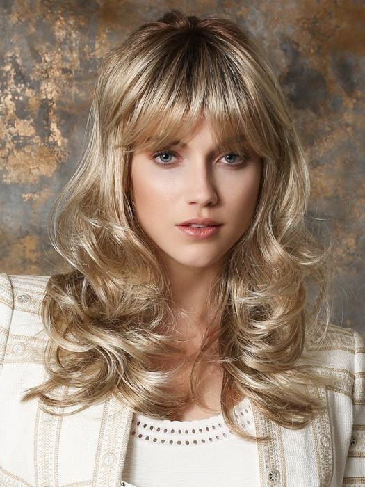PRETTY by Ellen Wille in CHAMPAGNE ROOTED | Light Beige Blonde,  Medium Honey Blonde, and Platinum Blonde Blend with Dark Roots