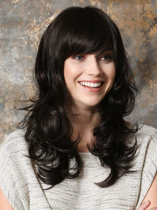 Pretty is a long, layered and wavy styke with a full bang