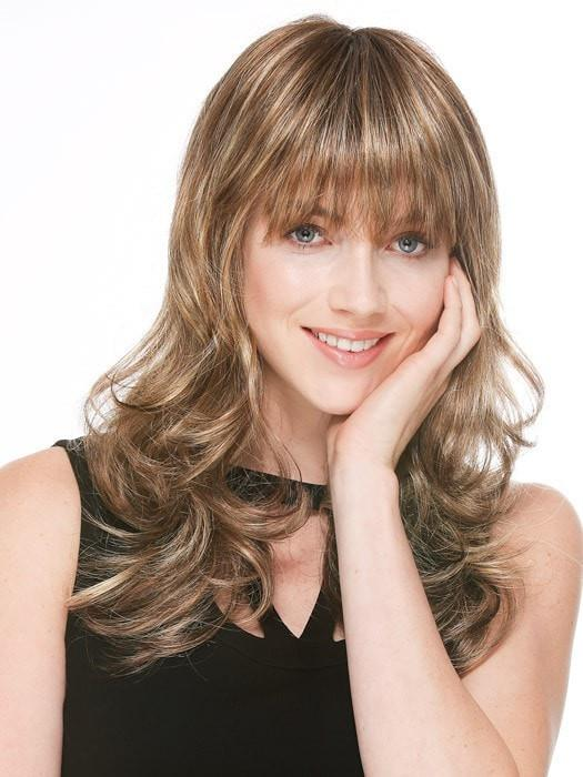PRETTY by Ellen Wille in BERNSTEIN ROOTED | Light Brown Base with Subtle Light Honey Blonde and Light Butterscotch Blonde Highlights and Dark Roots