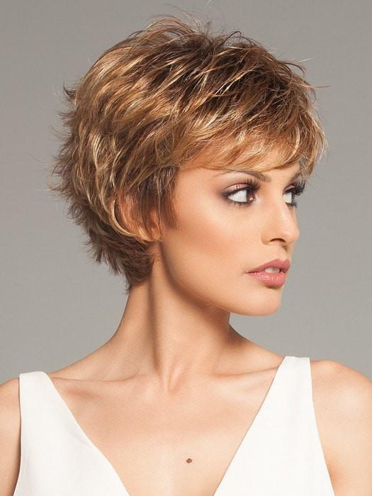 Shorter bang can be worn forward or pushed to the side