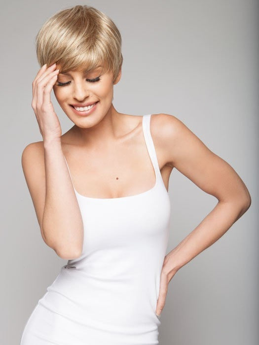 Smooth and sleek style with longer bangs and a tapered neckline