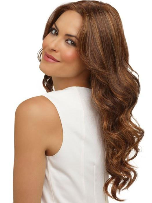 BRIANNA by Envy in CHOCOLATE CARAMEL | Dark Brown roots with overall Medium Brown base with Deep Red highlights