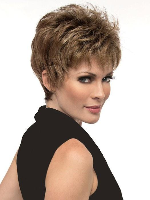 Jacqueline by Envy | Wispy bangs and the perfect layering to accentuate your cheekbones | Color: Chocolate Caramel