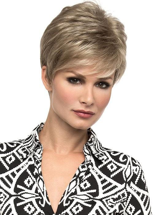 Jamie by Envy Wigs | Short, piecey layers all over with a little boost of volume at the crown | Color: Ginger Cream