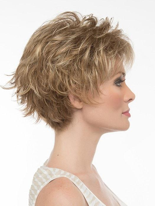 Feathered layers give this wig a voluminous look that can be styled sleek or spiked up | Color: Frosted
