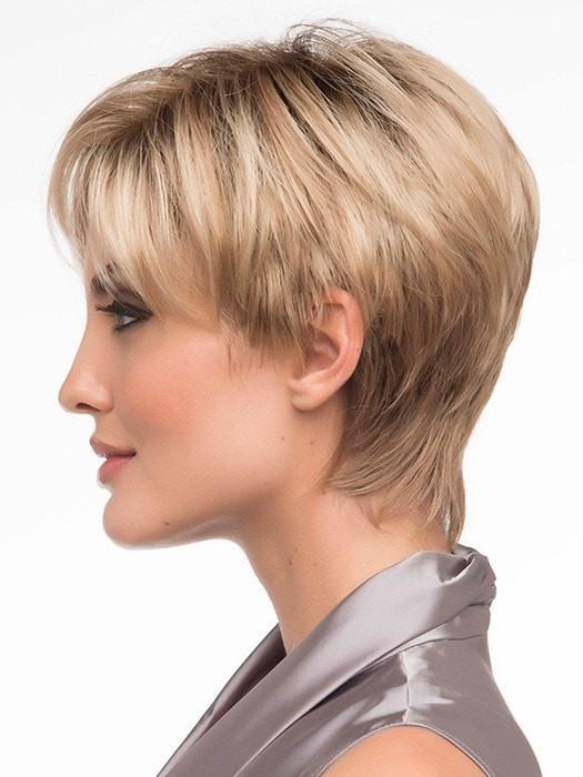 Shorter left side provides coverage for your own hair and hairline | Color: Sparkling-Champagne