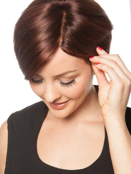 The hand-tied monofilament part creates the scalp appearance you see here | Color: Chocolate Cherry