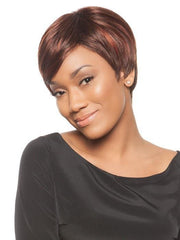 The left side is layered shorter creating asymmetry | Color: Chocolate Cherry
