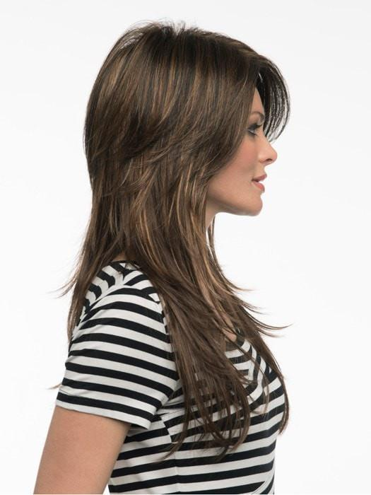 Crown volume with long straight layers | Color: Chocolate Caramel