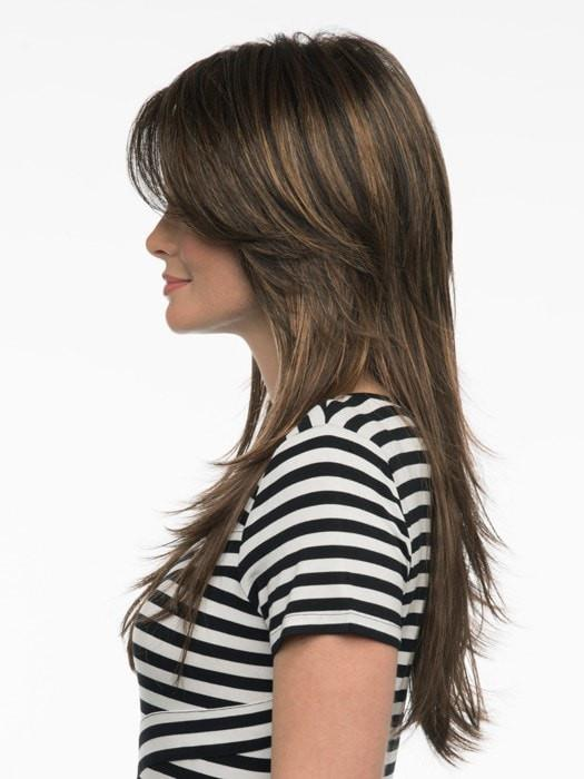Wear the bang off to the side or have it trimmed by your stylist | Color: Chocolate Caramel