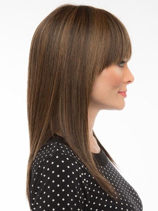 TARYN by Envy | Human Hair/ Synthetic Blend Wig with a Monofilament Top (shown in Medium Brown)