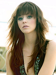 A modern edgy shag style is long and luscious with full choppy layers and bangs