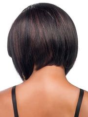 Tapered and angled neckline | Human hair can be styled straight or wavy | Color: FS1B/33