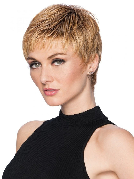 Short, feathered, and modern synthetic pixie wig