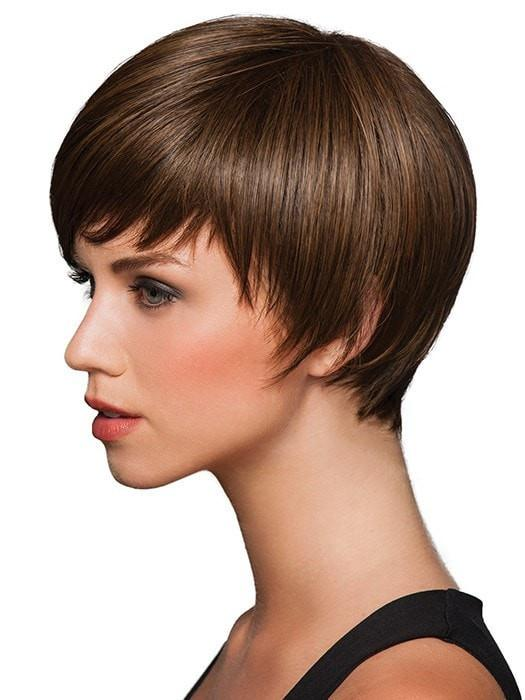 "Short, sleek ""boy cut.""  